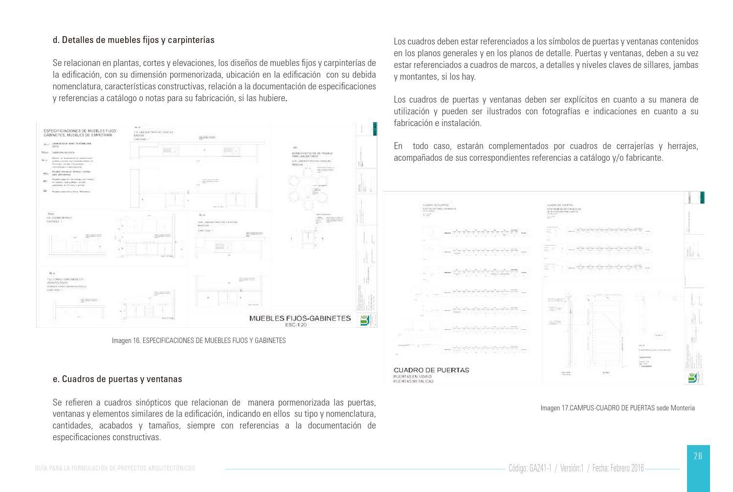 Gu A Para La Formulaci N Proyectos Arquitect Nicos By Universidad  # Muebles Fijos Especificaciones
