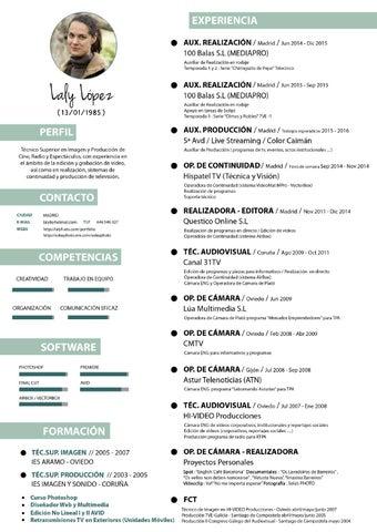 Curriculum Vitae Tecnico Audiovisual By Laly Lopez Issuu