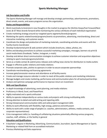 Sports Marketing Manager Job Description By Mccoy It Services  Issuu