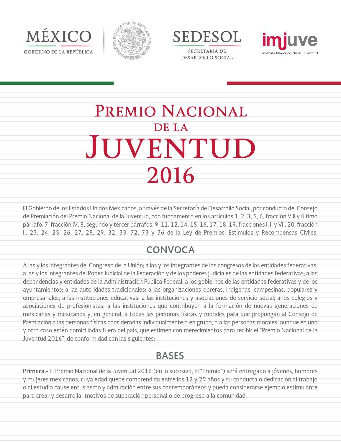 Convocatoria al Premio Nacional de la Juventud 2016 by Staffcom ...