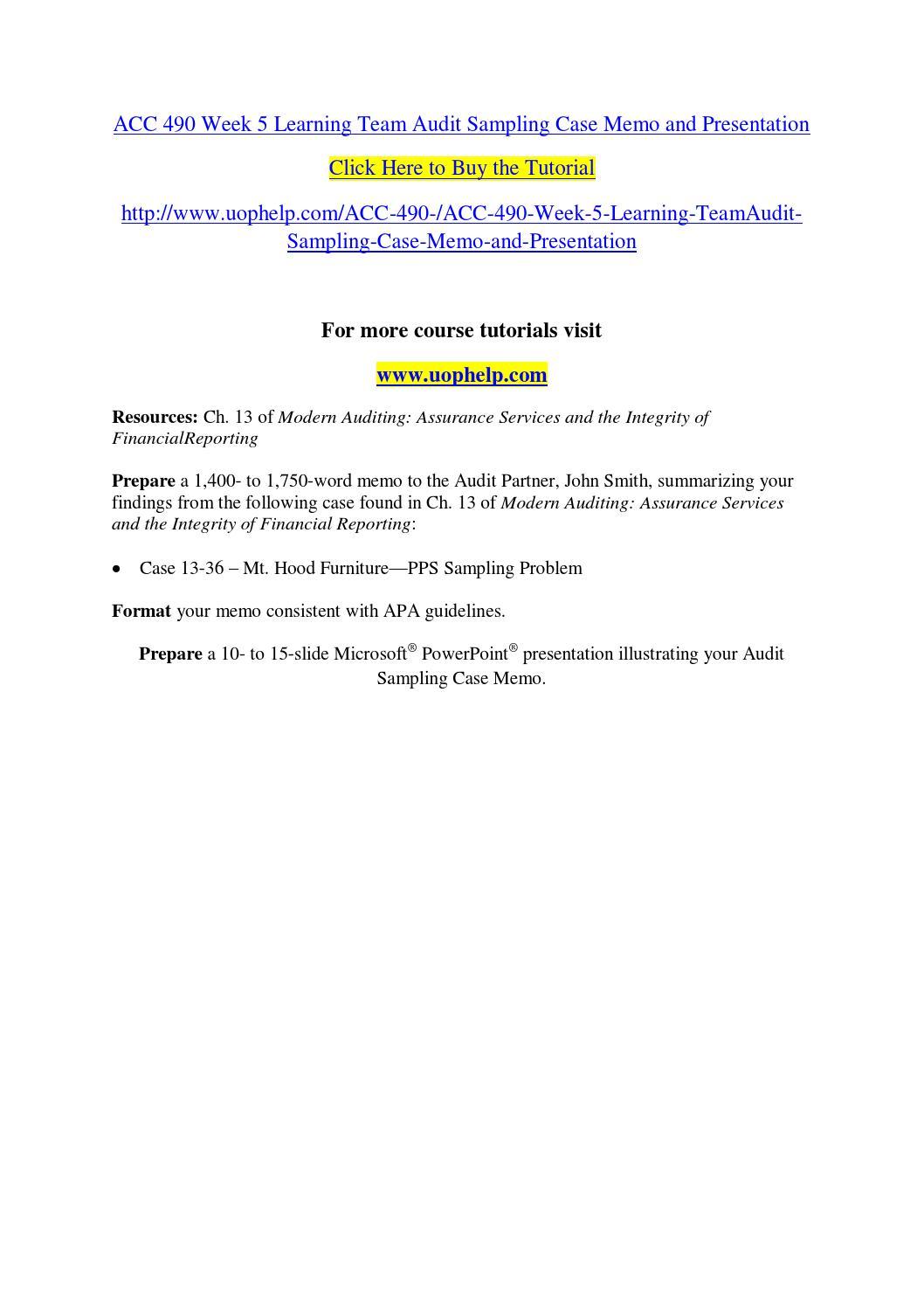 Audit sampling case chapter 13 case 13 36 mt hood furniture pps sampling problem essay
