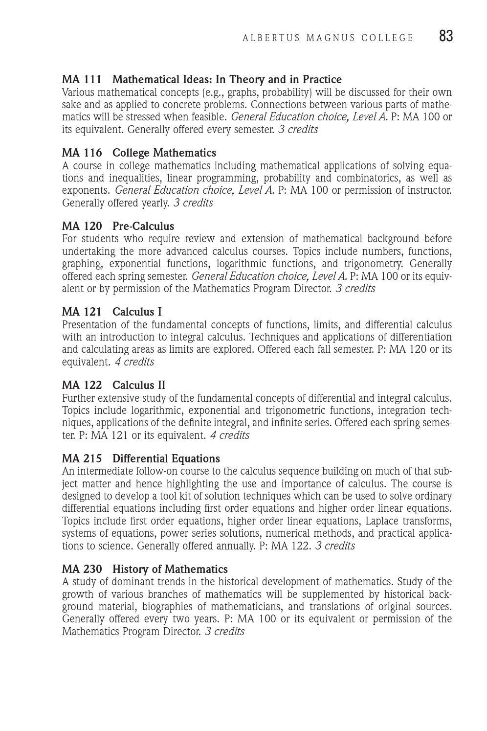 Albertus Magnus College Course Catalogue 2013-2015 by