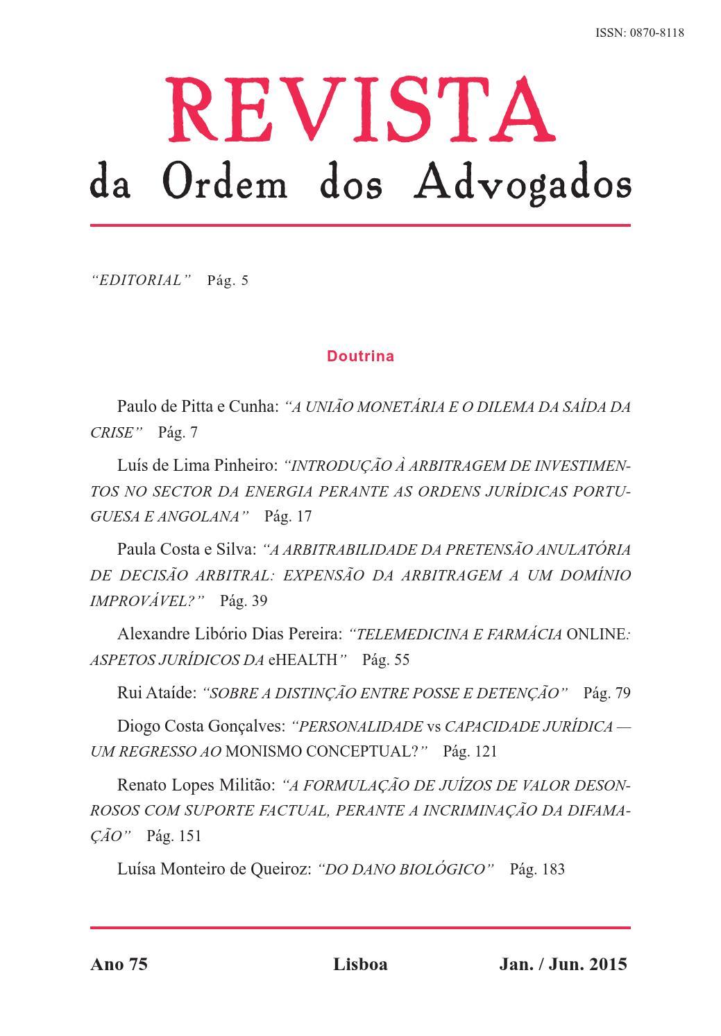 ROA Ano75 jan jun2015 doutrina by Ordem dos Advogados - issuu b885488413c