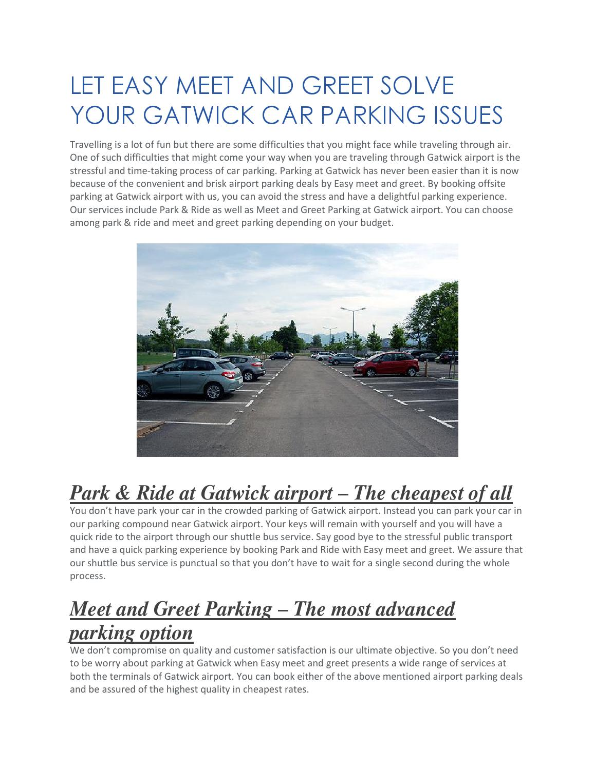 Let Easy Meet And Greet Solve Your Gatwick Car Parking Issue By