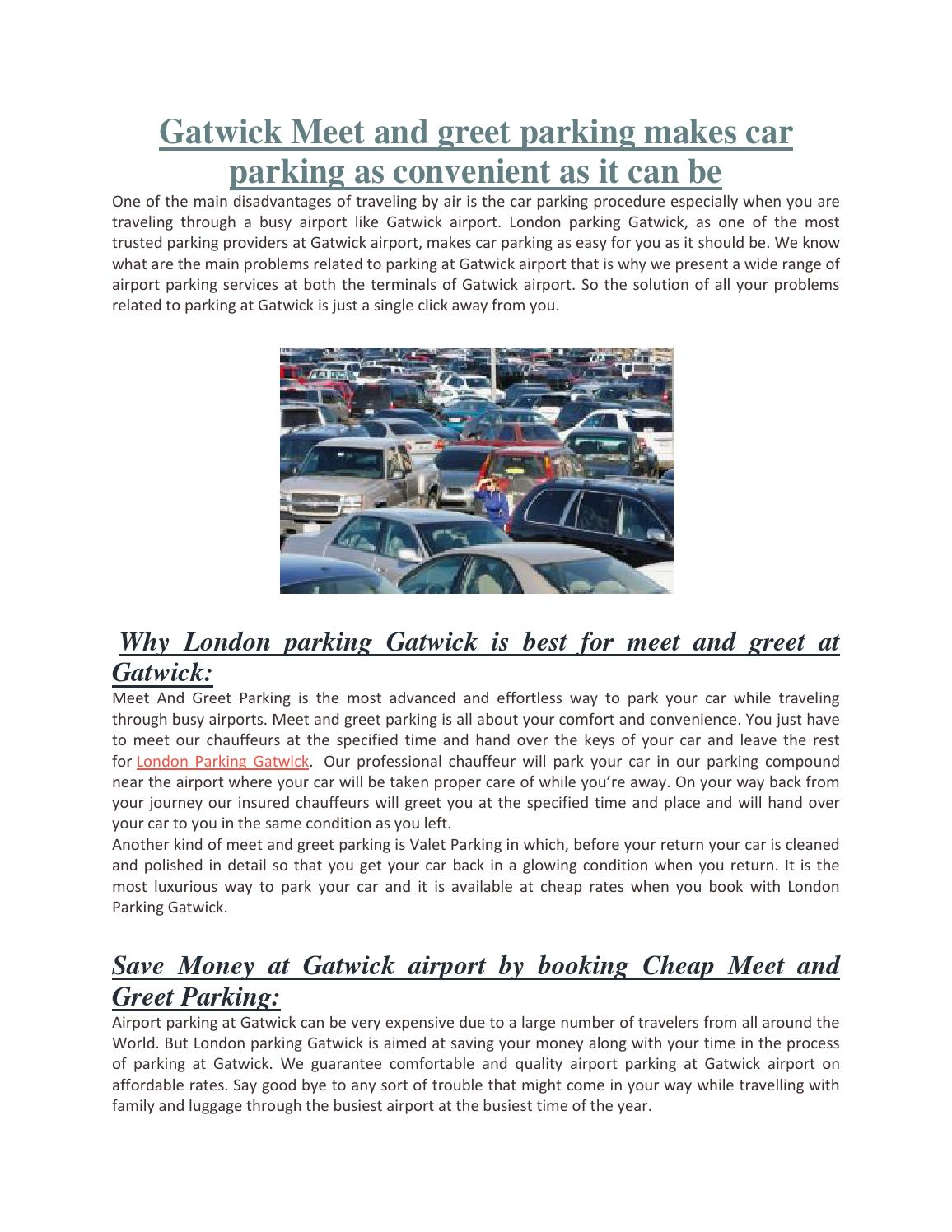 Gatwick Meet And Greet Parking Makes Car Parking As Convenient As It