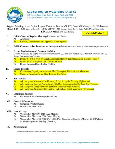March 2 2016 Regular Board Meeting Packet By Capitol Region
