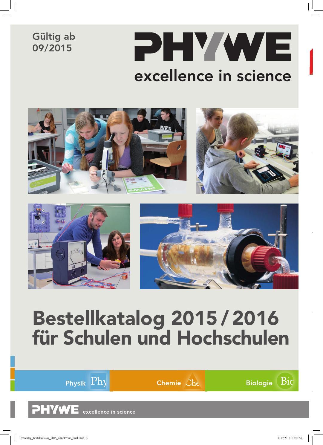 PHYWE Bestellkatalog 2015 - 2016 Lehrsysteme Physik Chemie ohne ...