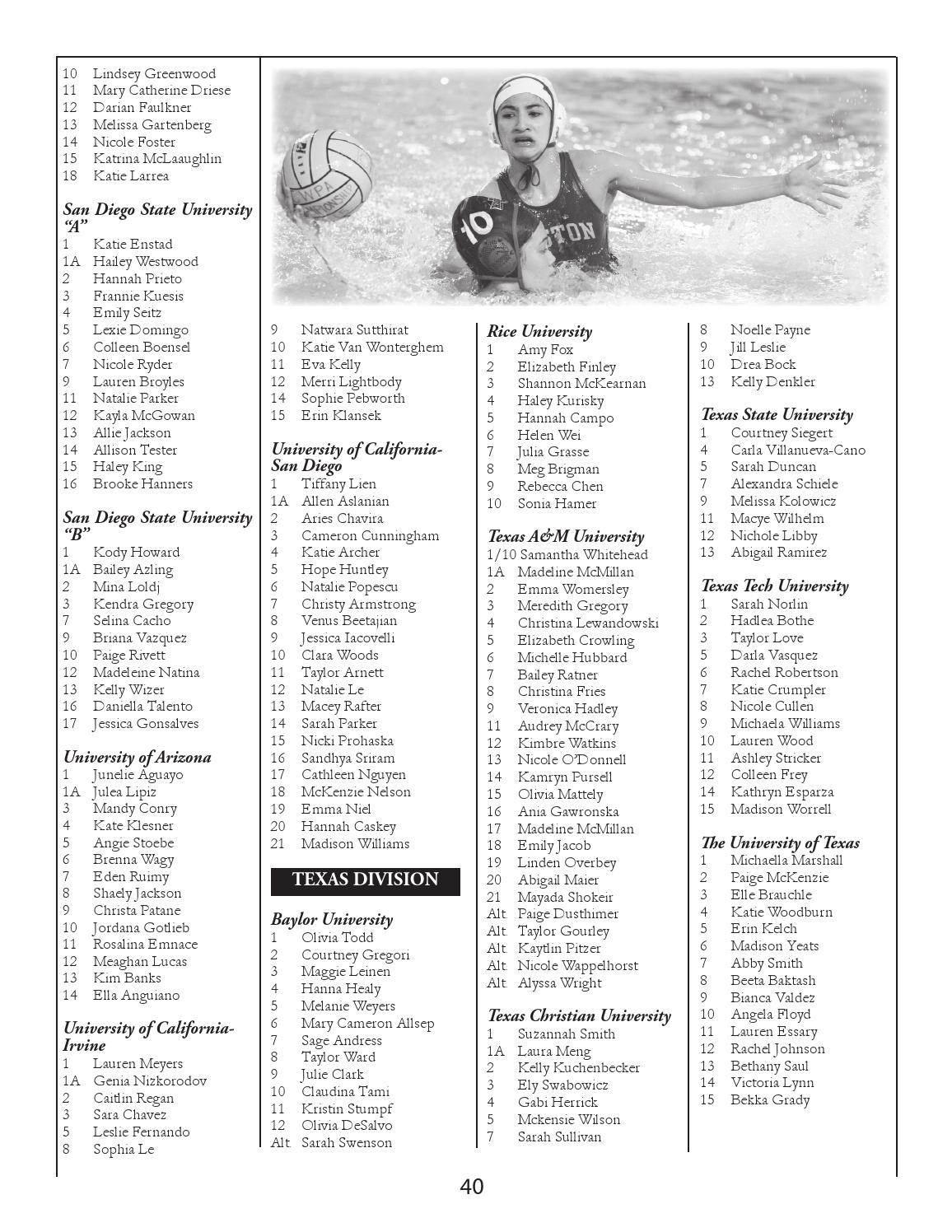 2016 Collegiate Water Polo Association Women's Guide by