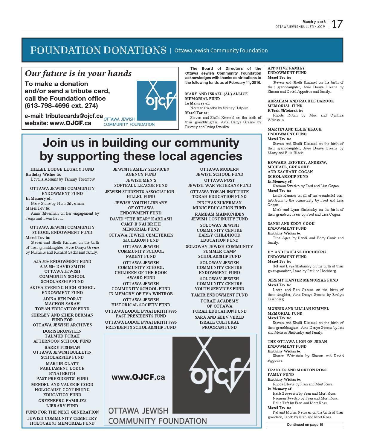 Ottawa Jewish Bulletin 2016 03 07
