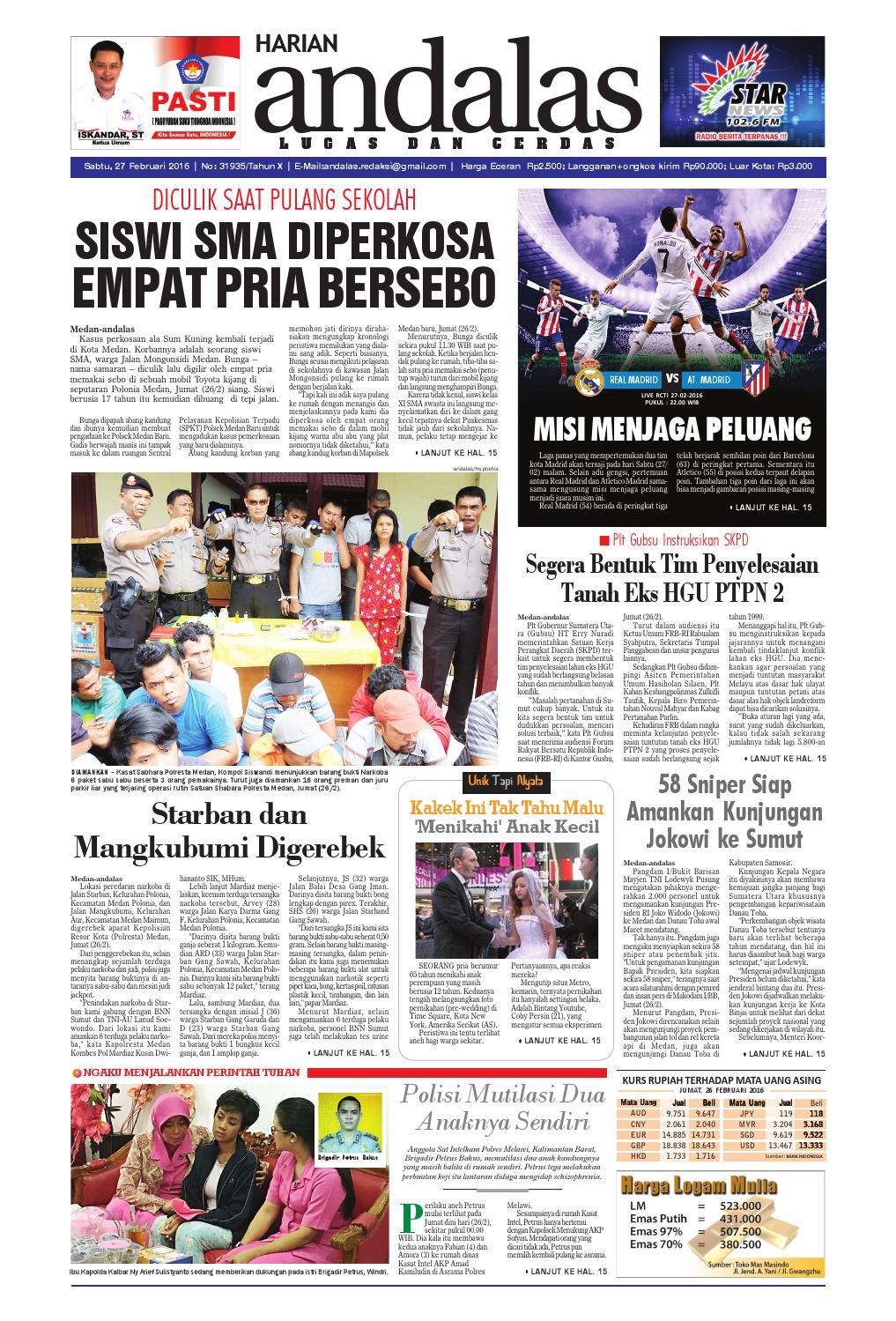 Epaper Andalas Edisi Sabtu 27 Februari 2016 By Media Issuu Fcenter Lemari Pakaian Wd Hk 1802 Sh Jawa Tengah