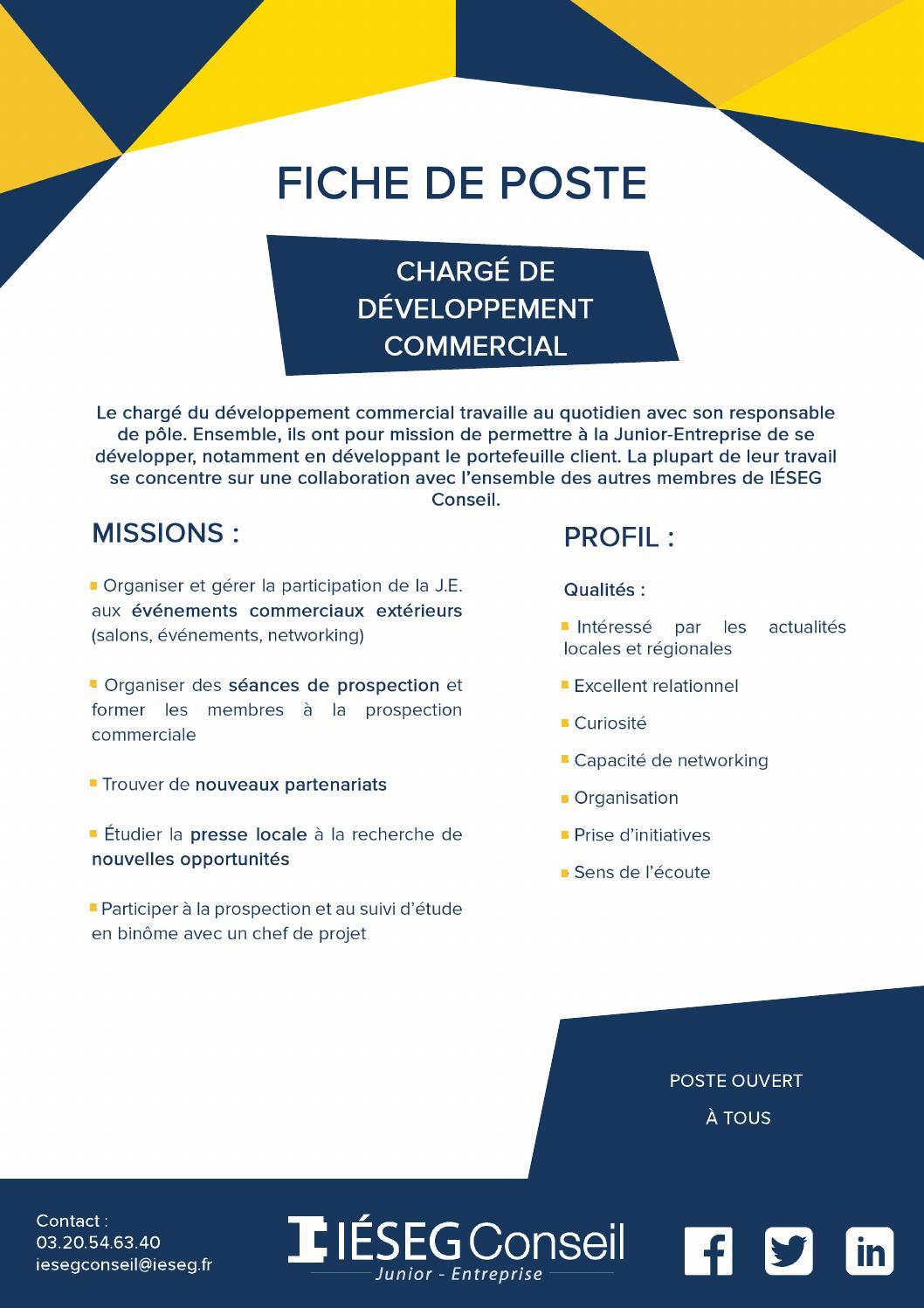 Fiche de poste charge developpement commercial by Équipe ...