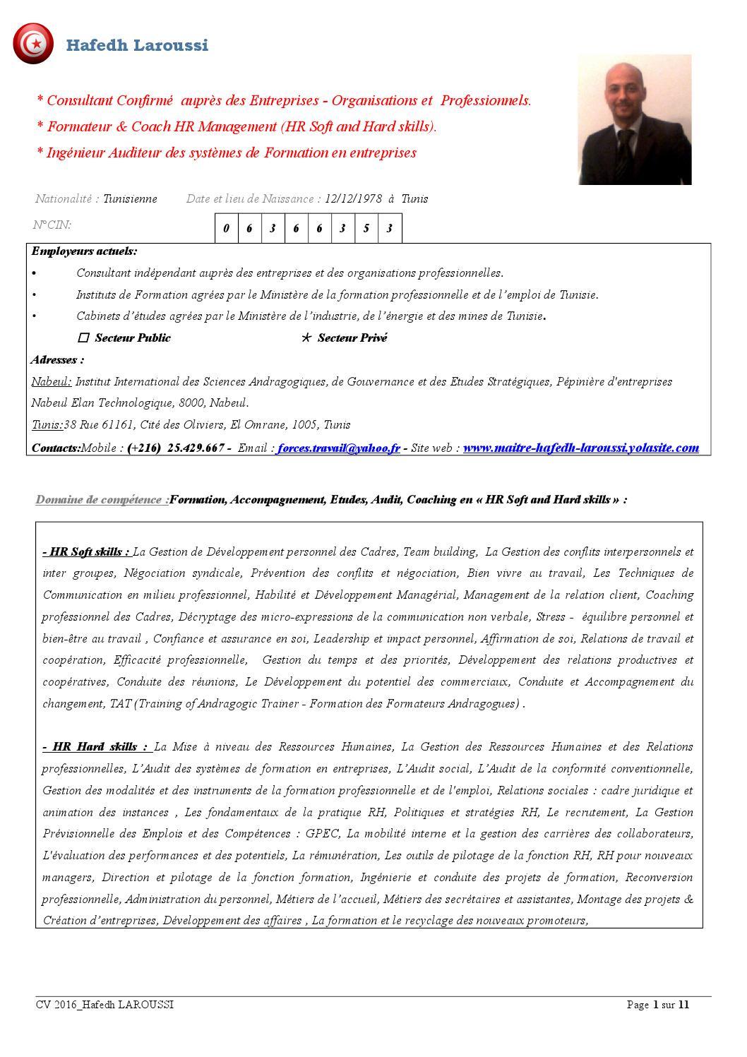 cv formateur consultant tunisien hafedh laroussi hr skills 01 01 2016 by hafedh laroussi