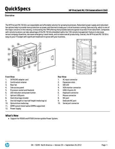 1 Year Warranty New HP ProLiant ML150 G6 Hot Swap 1TB 6Gb//s SATA Hard Drive
