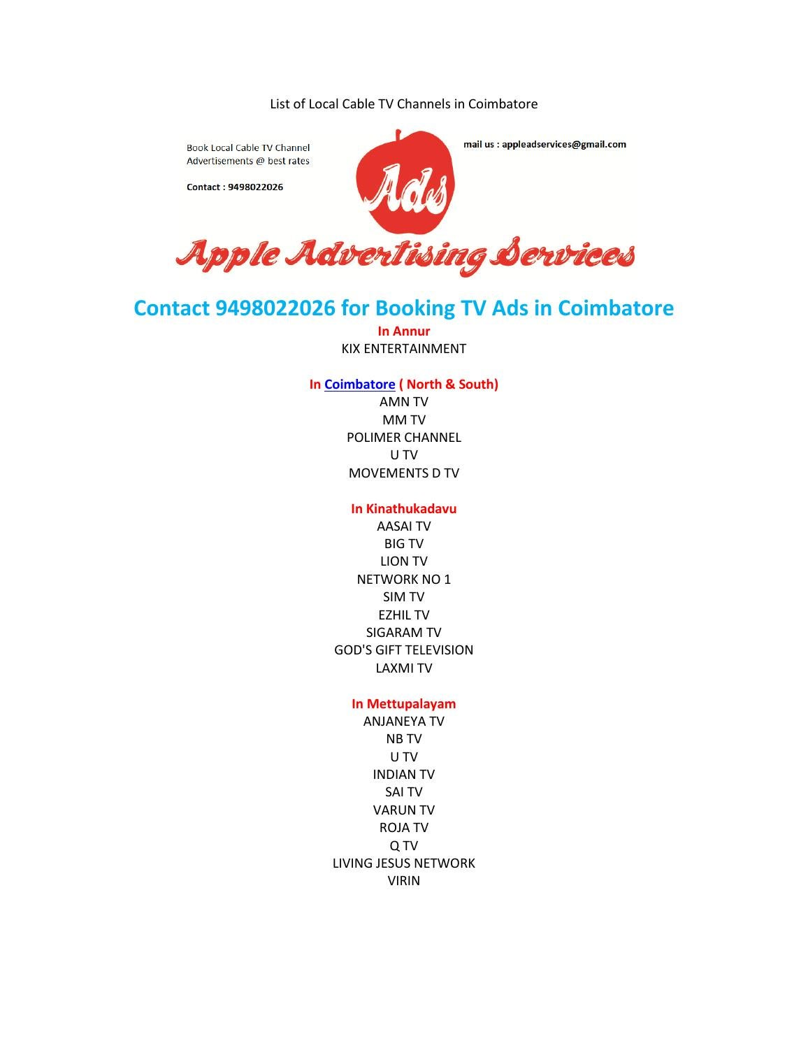 List Of Local Cable Tv Channels In Coimbatore By Apple