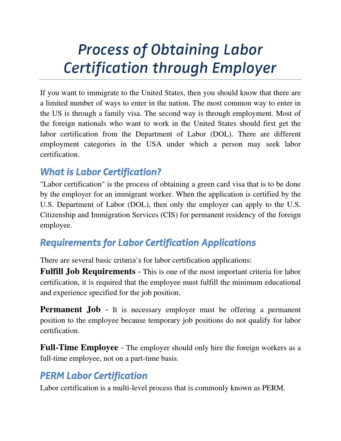 Process of obtaining labor certification through employer by Jackson ...