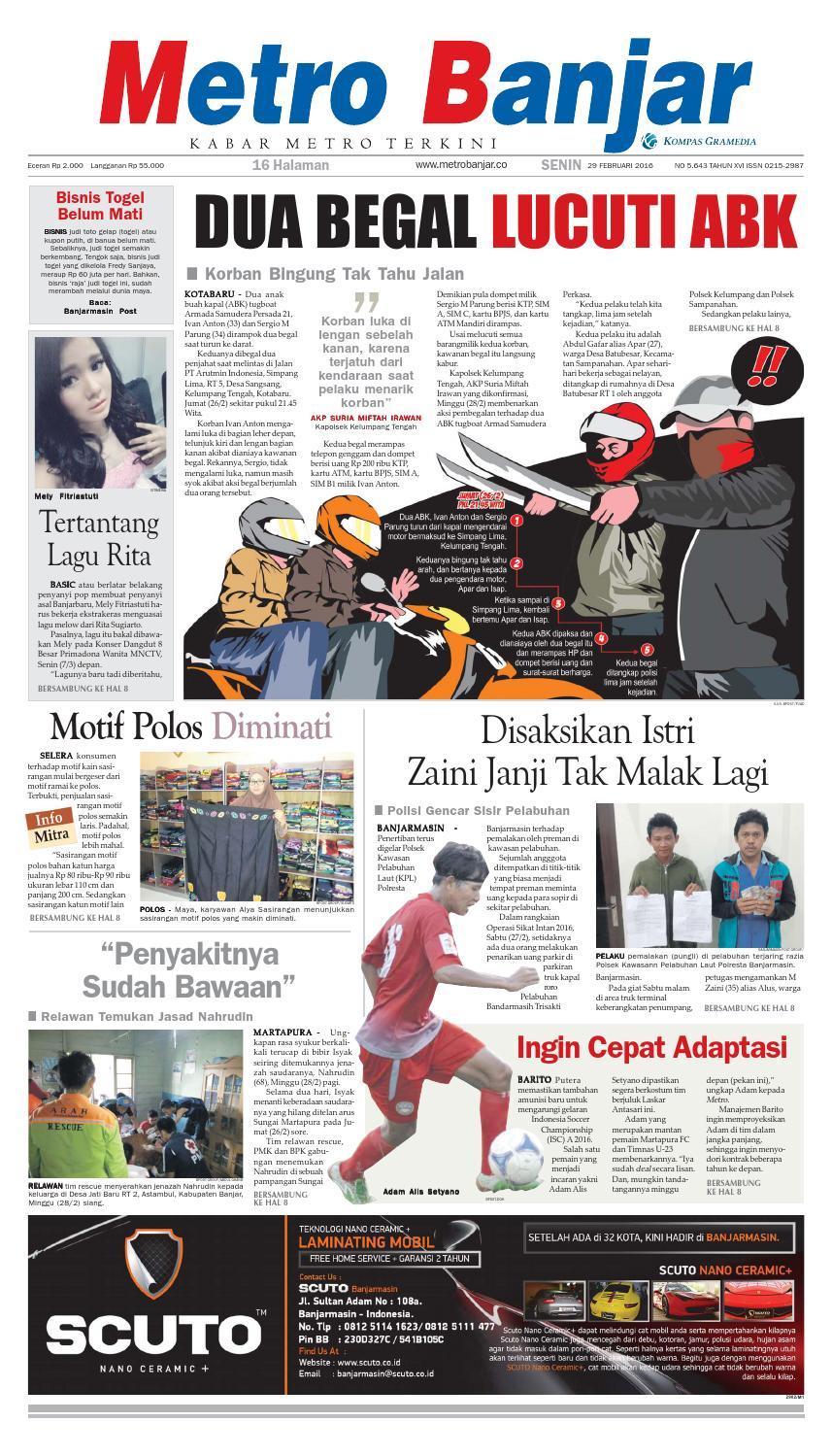 Metro Banjar Senin 29 Februari 2016 by Harian Metro Banjar - issuu