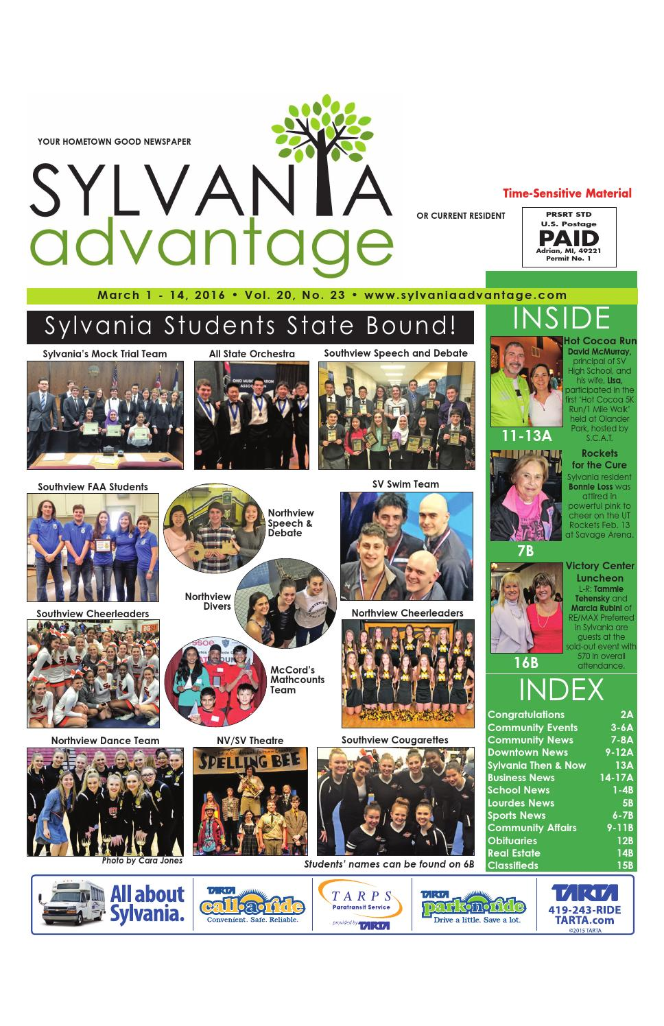 First March Issue March 1 2016 By Sylvaniaadvantage Issuu