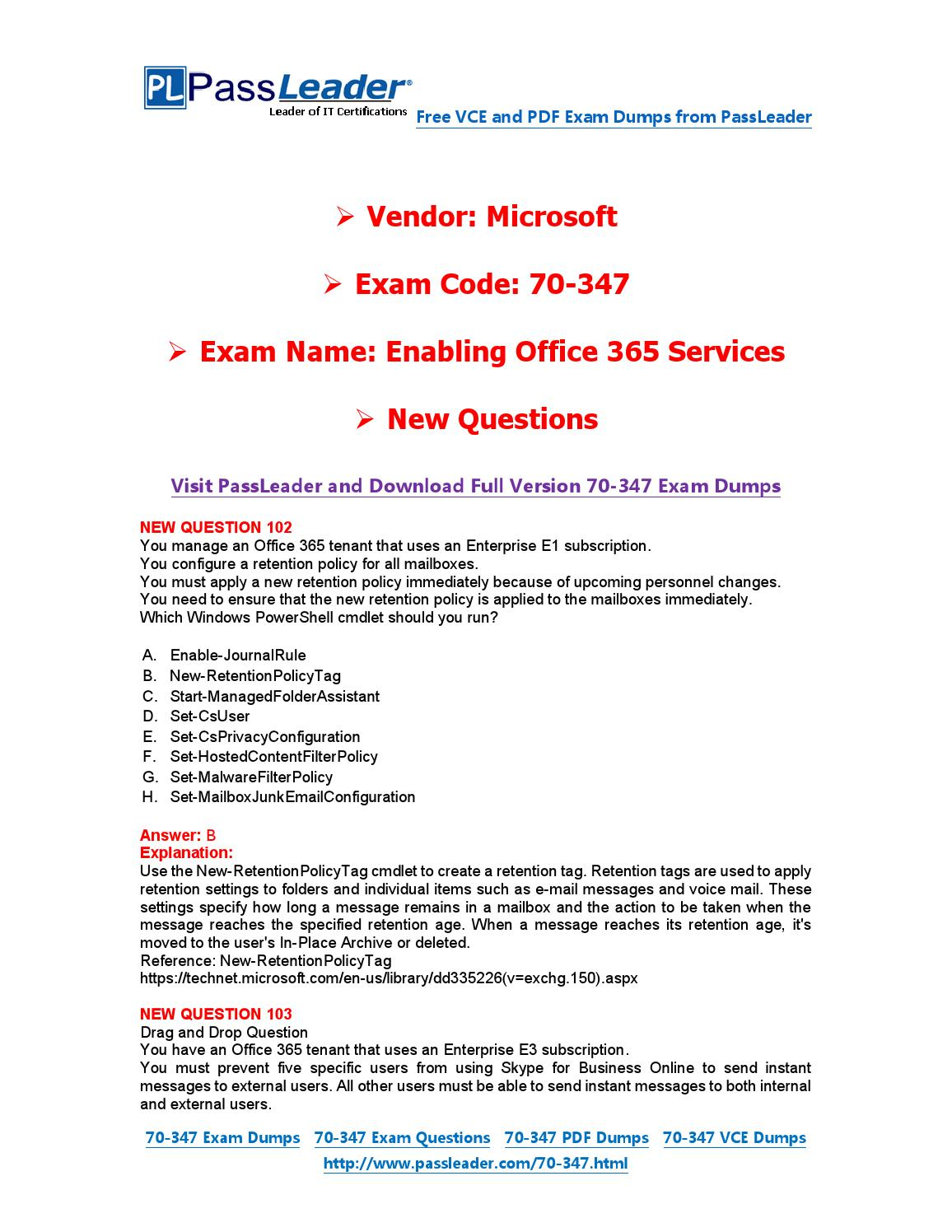 Jan-2016] New 70-347 Exam Dumps For Free (VCE and PDF) by Exam Dumps