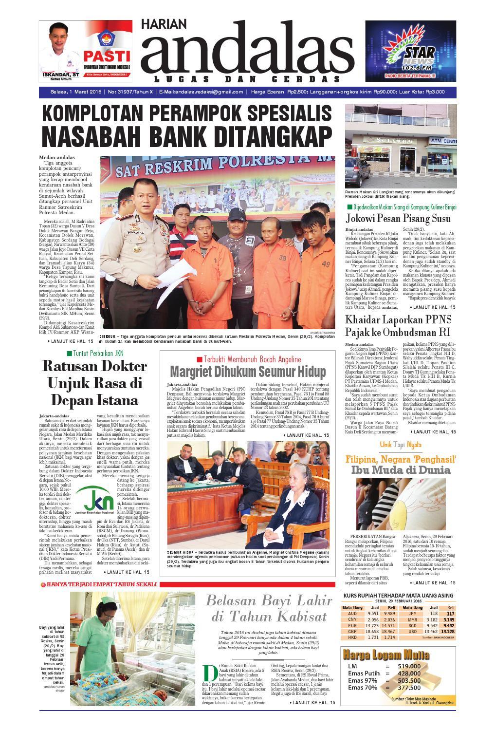 Epaper andalas edisi selasa 1 maret 2016 by media andalas - issuu 30e27b54ff