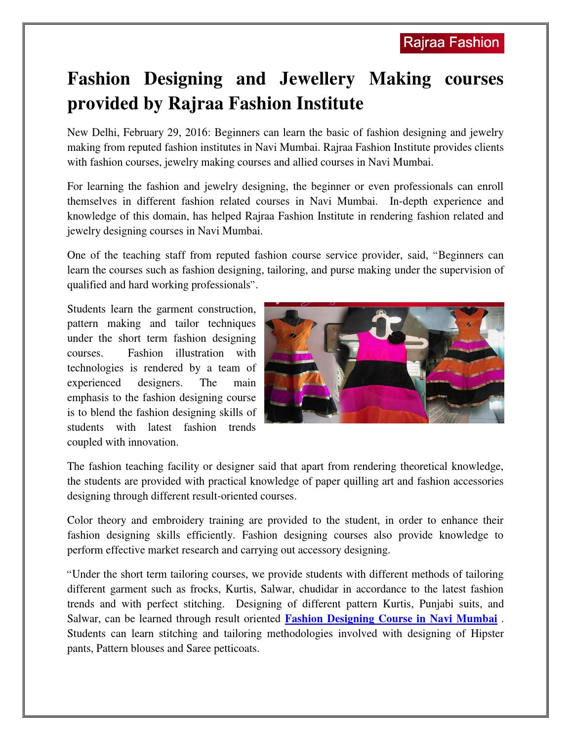 Fashion Designing And Jewellery Making Courses Provided By Rajraa Fashion Institute By Fashionr Issuu