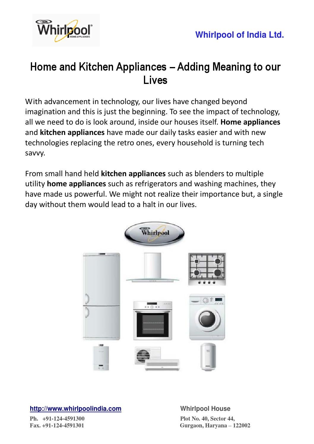 Home And Kitchen Appliances Adding Meaning To Our Lives By