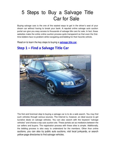 5 Steps to Buy a Salvage Title Car for Sale by Mark Drouser - issuu