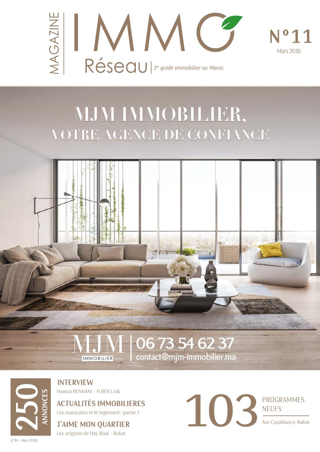 Immoreseau mars 2016 edition n 36 by web n ko issuu for Appartement design casablanca