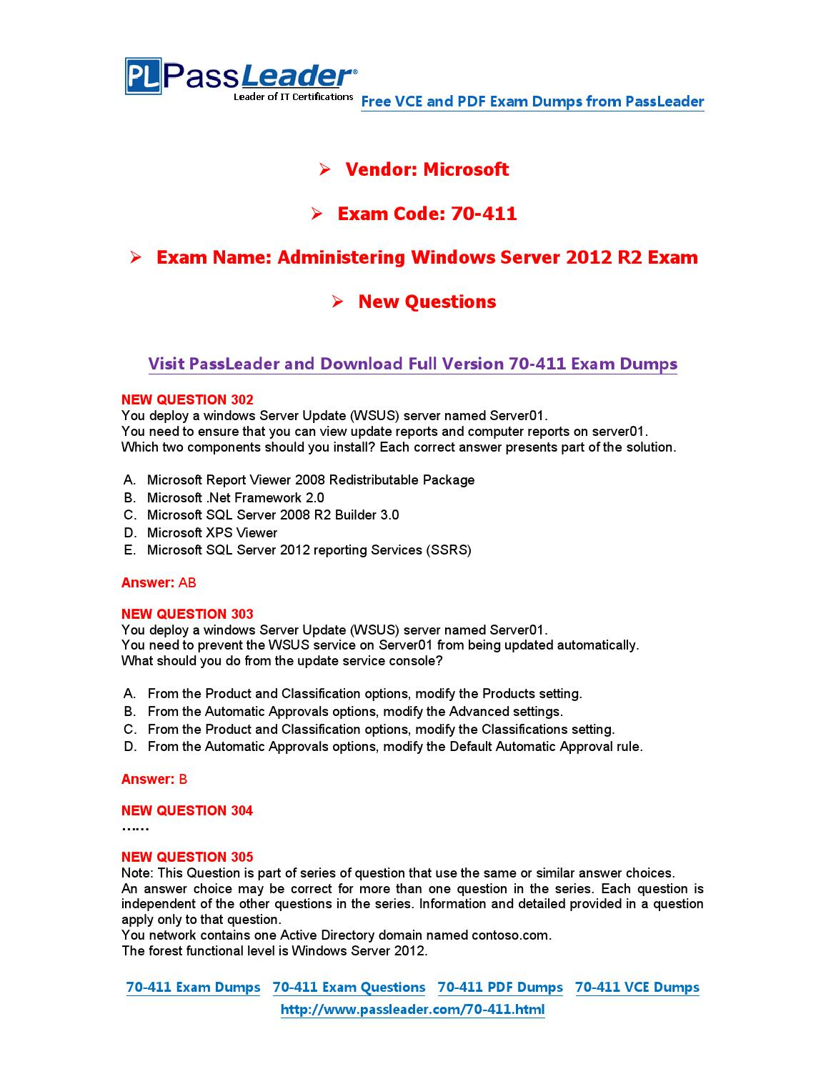 Jan 2016 New 70 411 Exam Dumps For Free Vce And Pdf By Exam Dumps