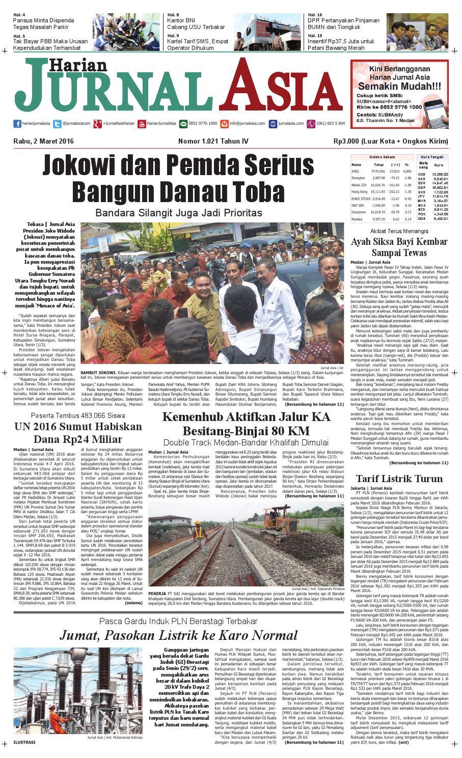 Harian Jurnal Asia Edisi Rabu 02 Maret 2016 By Produk Ukm Bumn Tempat Tisu Handmade Trenggalek Medan Issuu