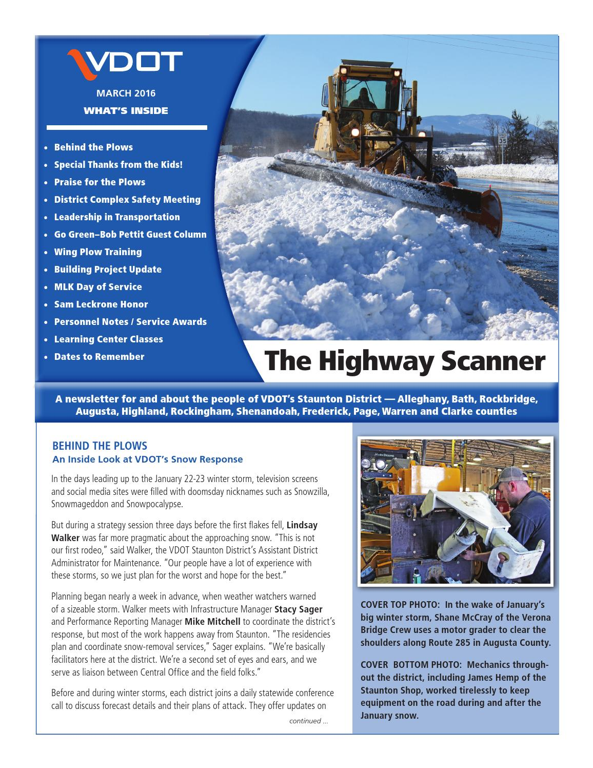 Highway Scanner March 2016 by VDOT Staunton District - issuu