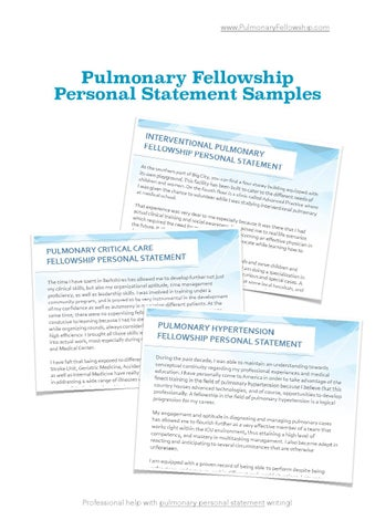 Pulmonary Fellowship Personal Statement Samples By Ryan Ross  Issuu