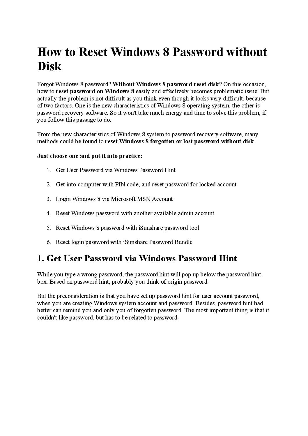 How to reset windows 8 password without disk