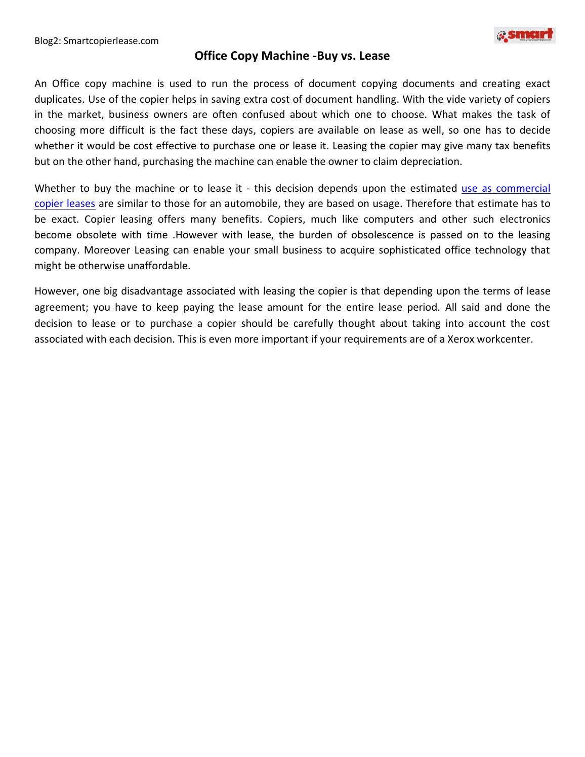 Office Copy Machine Buy Vs Lease By Smartcopierlease Issuu