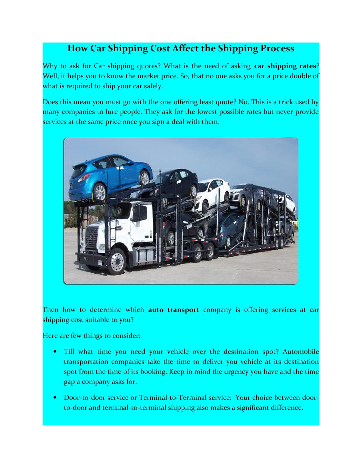 Car Transport Rates >> How Car Shipping Cost Affect The Shipping Process By Pro