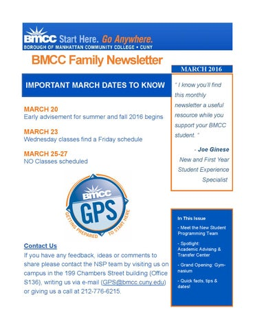 BMCC Family Newsletter - March 2015 by Joe Ginese - issuu