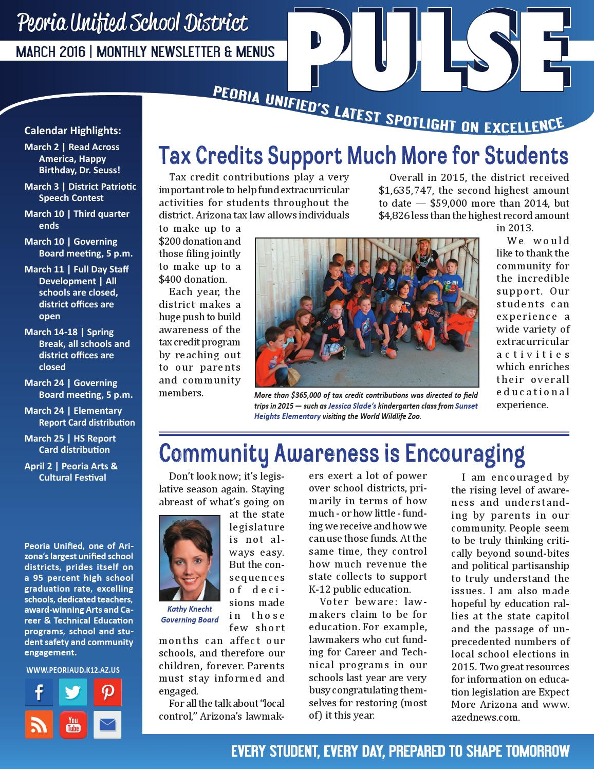 Peoria Unified School District March 2016 PULSE Newsletter