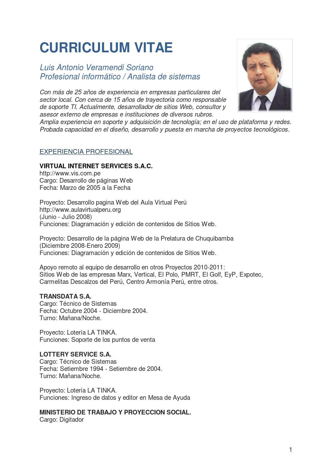 Cv luisveramendi by Luis Antonio Veramendi Soriano - issuu