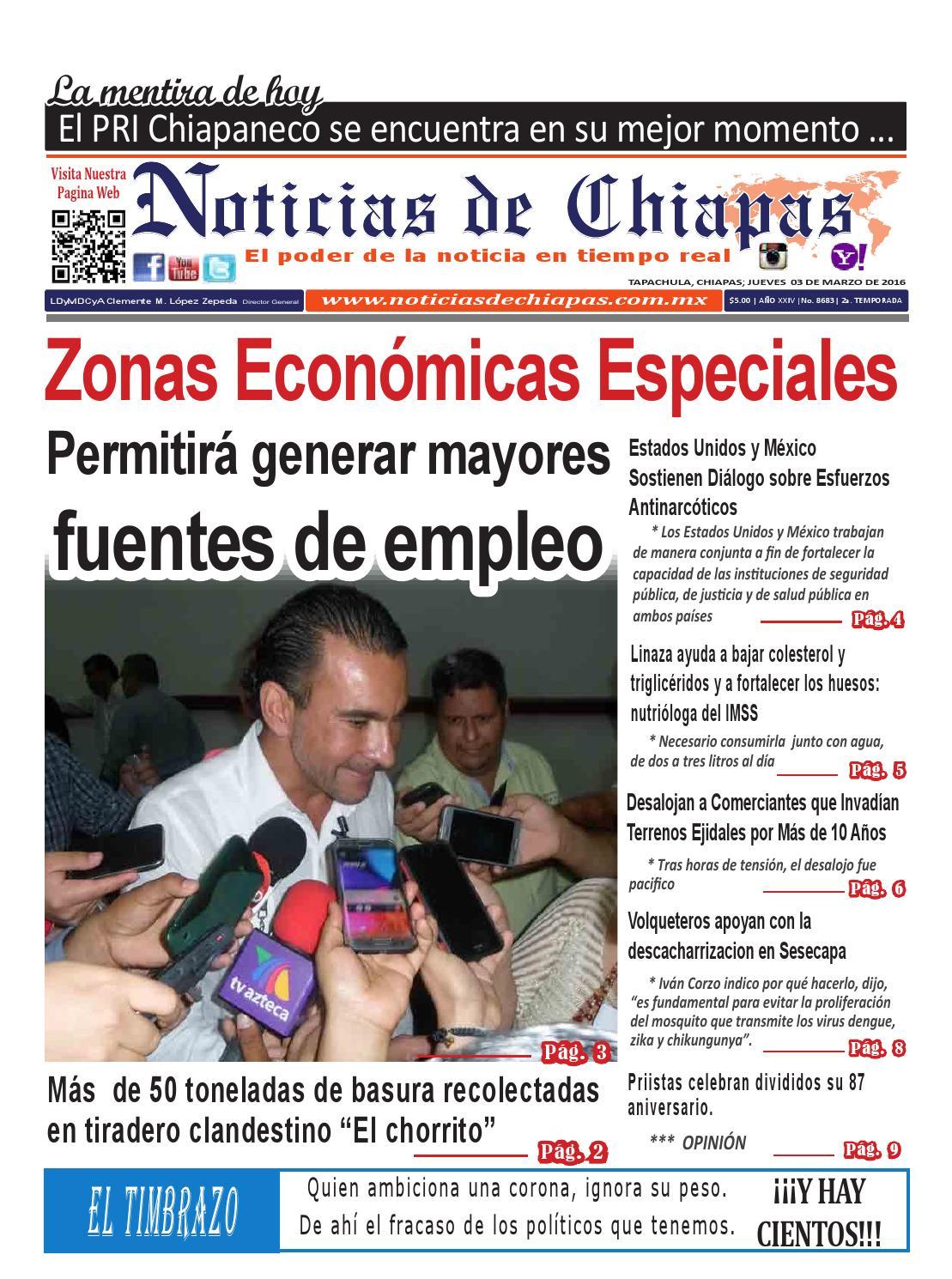 NOTICIAS DE CHIAPAS, EDICIÓN VIRTUAL;JUEVES 03 DE MARZO DE 2016 by ...