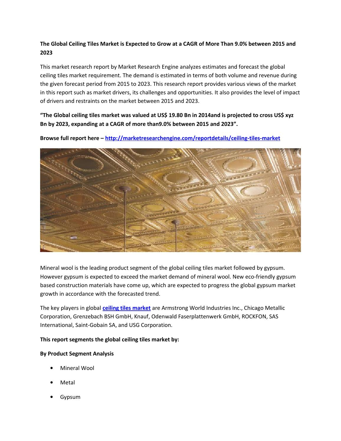 Global ceiling tiles market report by market research engine by global ceiling tiles market report by market research engine by market research engine issuu dailygadgetfo Images