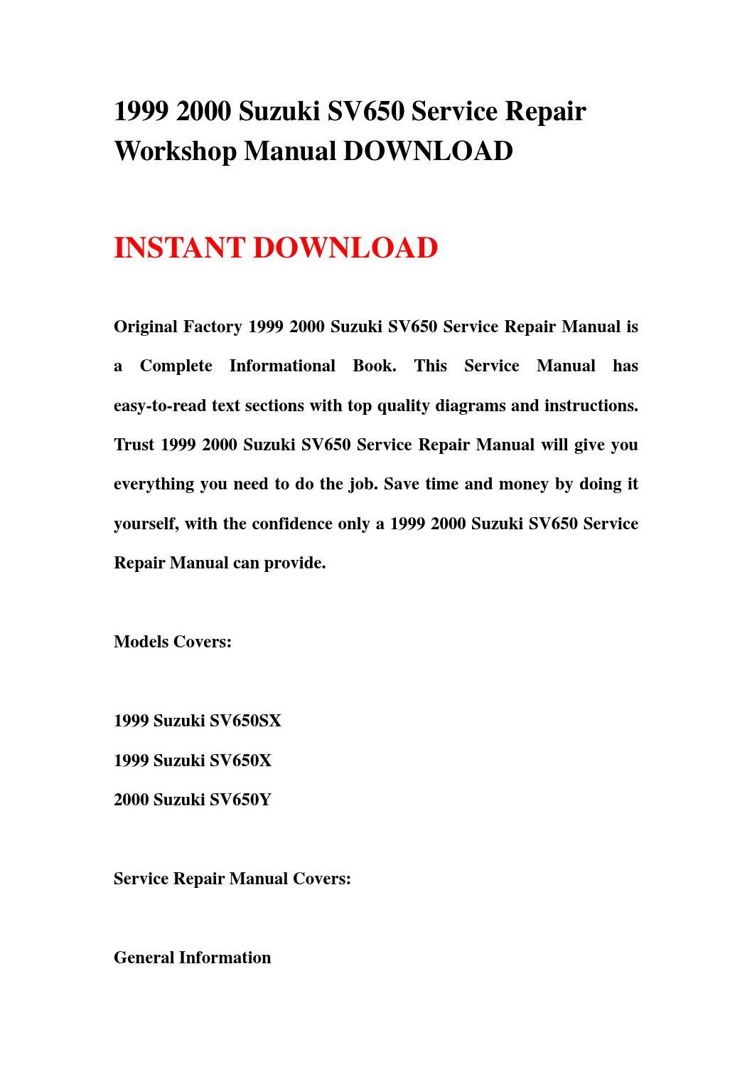 1999 2000 suzuki sv650 service repair workshop manual download by  jhsefnhsen76 - issuu