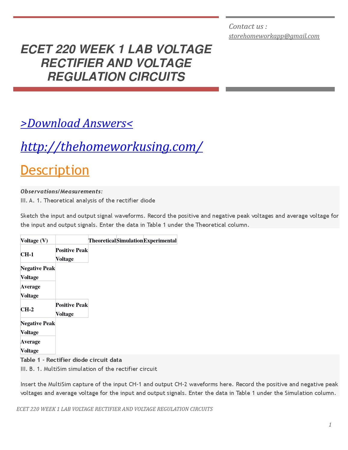Ecet 220 Week 1 Lab Voltage Rectifier And Regulation Circuit Circuits By Edward Online Issuu