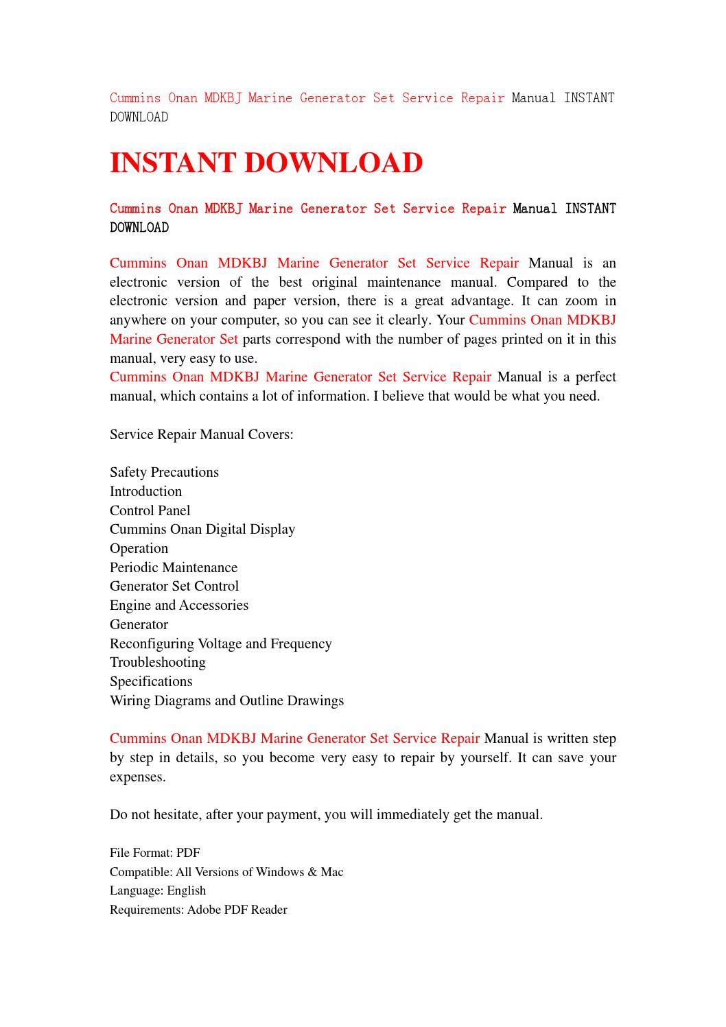 ... Array - cummins onan mdkbj marine generator set service repair manual  rh issuu com