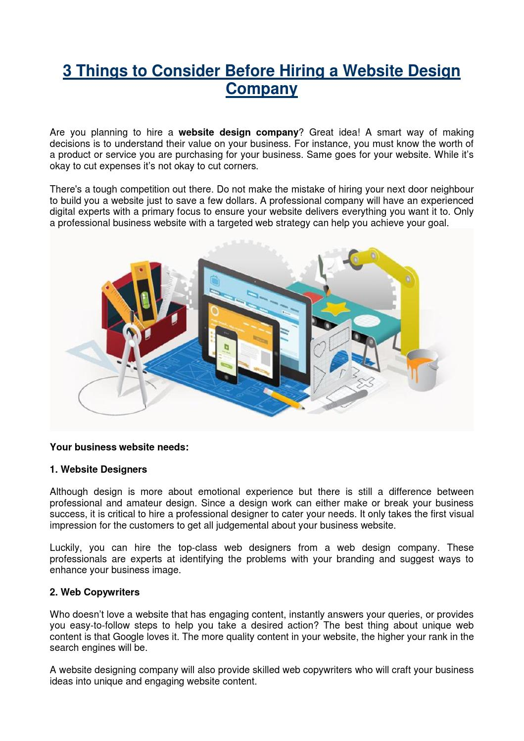 3 Things To Consider Before Hiring A Website Design Company By Web Design Vaughan Issuu