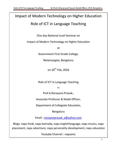 Impact of modern technology on higher education and role of ict in page 1 fandeluxe