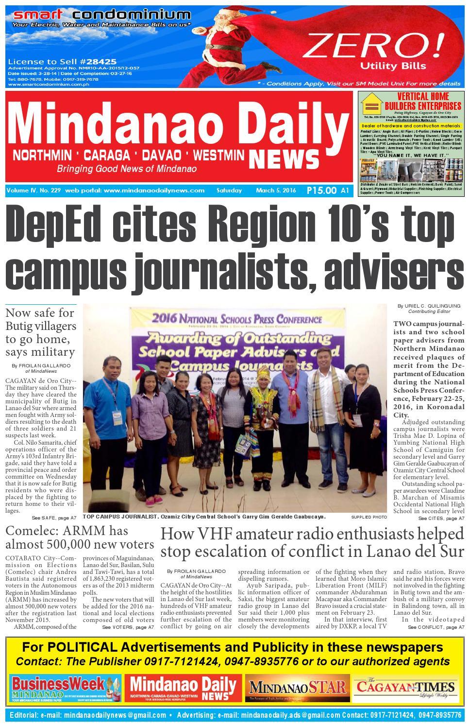 Mindanao Daily Northmin March 5 2016 By Dante Sudaria Issuu Del City Press Release