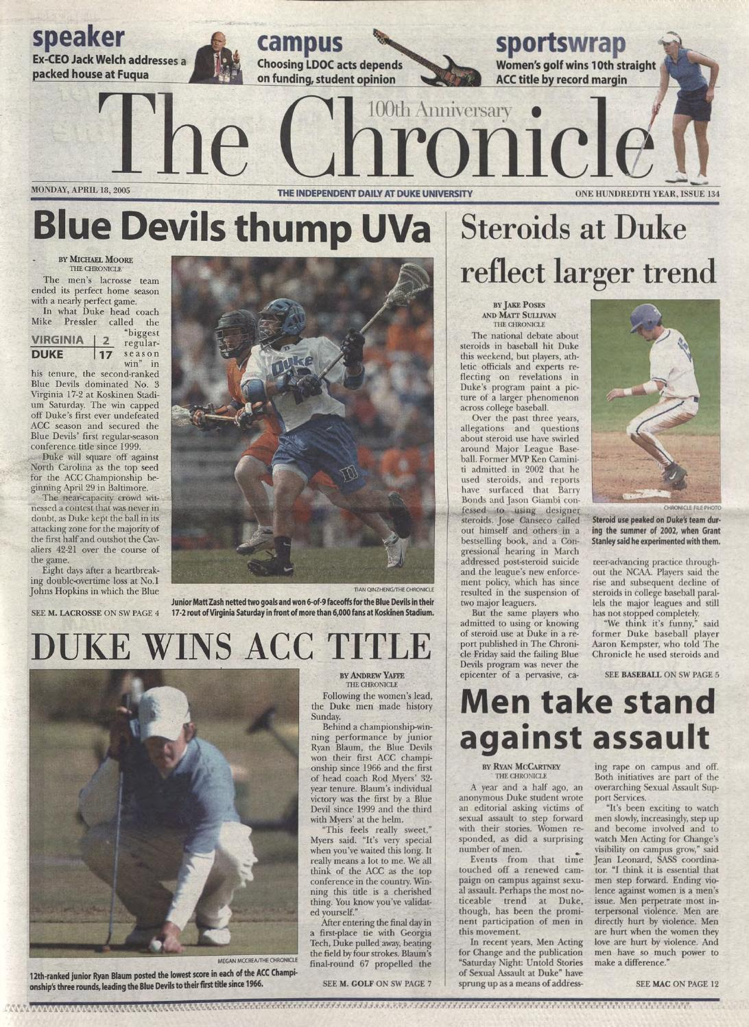 April 18 2005 By Duke Chronicle Print Archives