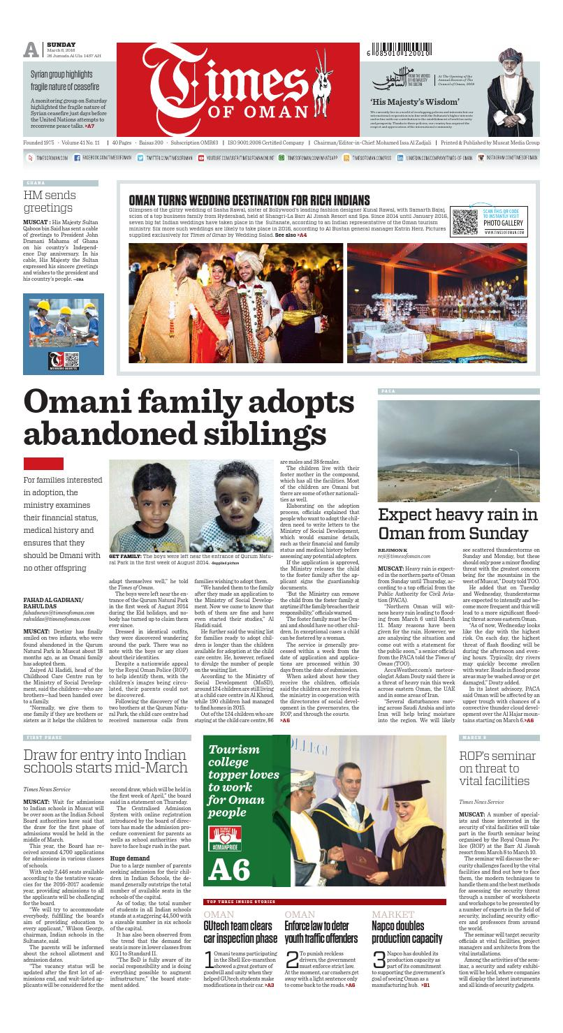 Times Of Oman March 6 2016 By Muscat Media Group Issuu