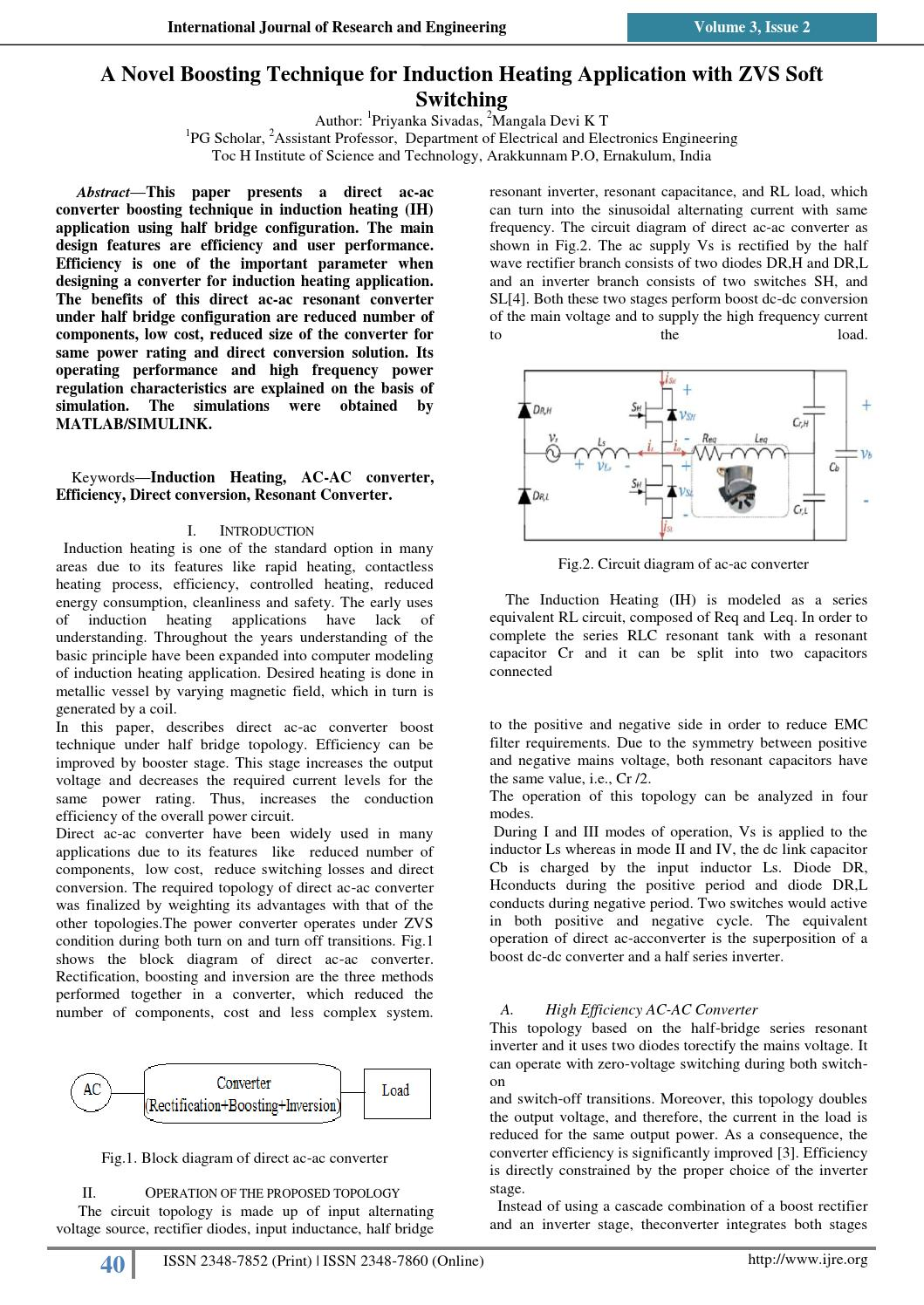 Ijre 8 A Novel Boosting Technique For Induction Heating Application Halfwave Rectifier Topology The Circuit Is With Zvs Soft Switching V3i2 U30 By International Journal Of Research And Engineering