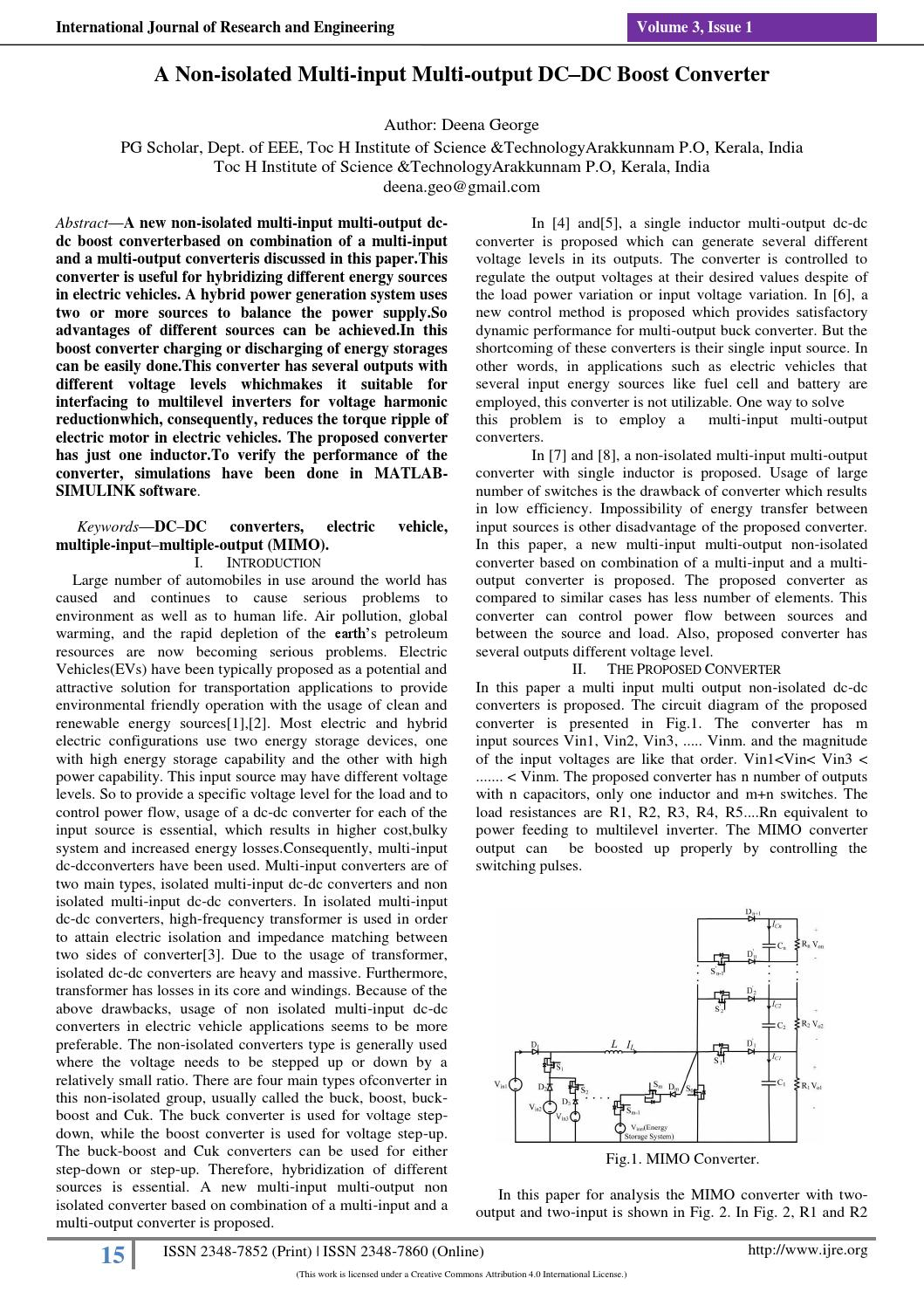 Ijre 4 A Non Isolated Multi Input Output Dc Boost Converter To V3i1 3114 By International Journal Of Research And Engineering Issuu