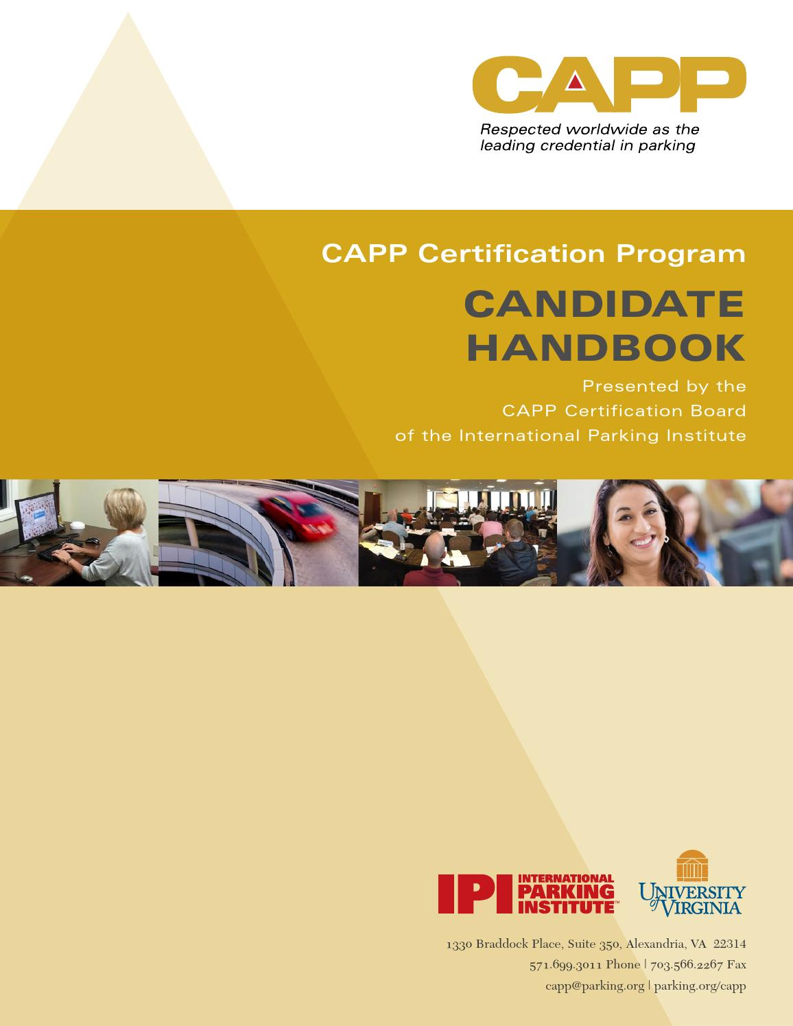 Capp Candidate Handbook By International Parking Mobility